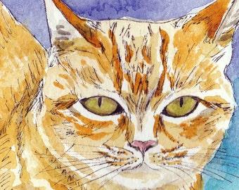 Ginger Cat, Original Cat Watercolor, Cat portrait, Cat Artwork, 8X10, Original Painting, Watercolor Cat, Orange Cat Art, Paint My Cat