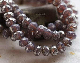 SILVERED GRAPE BABIES .. New 30 Picasso Czech Rondelle Glass Beads 3x5mm (5702-st)