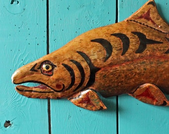 Chinook Salmon Spirit - copper metal fish tribal wall hanging - Pacific Northwest Coast Indian inspired - iridescent copper surface - OOAK