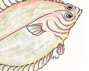 8x10 Flatfish Flounder Art Print, Printable Fish Art, Halibut Gamefish Poster, Printable Wall Art, Home Decor, Instant Digital Download