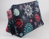 Modern Snowflakes Knitting Project Bag - Winter Sock Project Bag - Zippered Project Bag - Crochet Project Bag - Wedge Bag