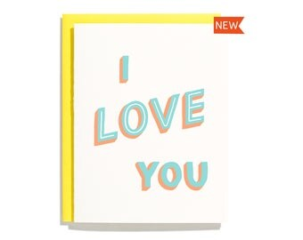 I Love You (Hand Lettered) - Letterpress Love Card - CL279