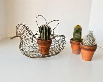Wire Chicken Basket, Wire Egg Basket, Vintage Wire Egg Basket, Antique Wire Basket