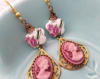 Porcelain lady Cameo Golden Dangly filigree earrings