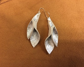 Petal Collection: Silver metallic leather petal earrings 2 inches