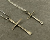 Reserved for Denise His and Her Sterling Silver Cross Necklace, Rustic Cross, Eco Friendly Jewelry, , Gifts for Teen Gifts for Her