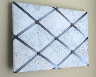 """11""""x14"""" Silver Batik Memory Board or Bow Holder, Bow Board, Vision Board, Memo Board, Pin Board, Photo Display, Business Card Holder,"""