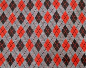 Argyle Diamond Black Red Grey Poly/Knit Stretch Fabric BTY