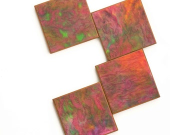 Handmade Paper Coaster Watercolor Abstract Design Orange Pink Paper Hostess Gift Set of 4  Wood Coaster Green Dots