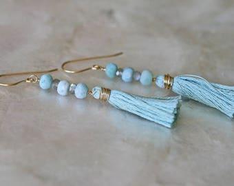 Tassel Earrings, Larimar Earrings, Labradorite Earrings,  Boho Earrings, Dangle Earrings, Long Earrings, Light Blue earrings