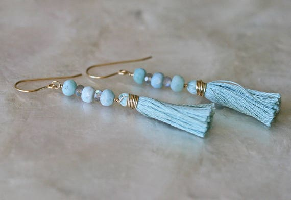 Tassel Earrings, Larimar Earrings, Labradorite Earrings,  Boho Earrings, Dangle Earrings, Long Earrings, Light Blue earrings