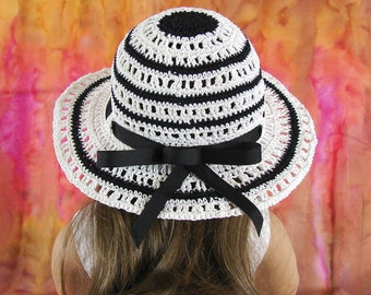 American Girl Doll Hat 18 inch Doll Hat White and Black Hat Am Girl Doll Hat Black and White Striped Doll Hat AG Doll Summer Crochet Hat