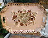 Vintage Pink Floral Tole Tray Hand Painted Nashco Products Signed / Double Handle Serving Tray / Shabby Chic Cottage Style Serving Tray