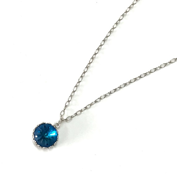 Swarovski crystal bermuda blue sea urchin necklace on sterling chain
