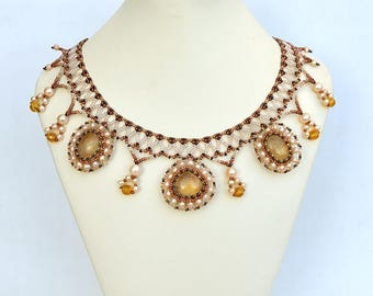 Classic style necklace with honey calcite Collar necklace with yellow calcites, citrine and real pearls Evening necklace with gemstones N374