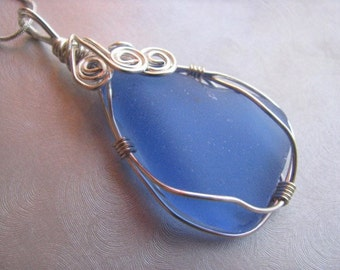 Cornflower Blue Beach Glass Pendant - Blue Sea Glass - Wire Wrapped - Beach Glass Jewelry