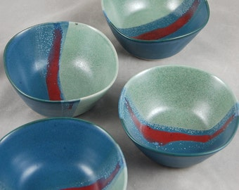 Bowls Set of 4 in Aqua Blue and Red Small Everything Bowls Dessert Sauce Food Prep Side Dish Relish Serving