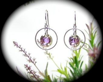 Swarovski Sun Crystal Sterling Silver Open Circle Earrings 5 Color Choices