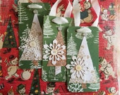 Handmade Christmas tags, Set of Three, Trees, Snowflakes and Mother of Pearl Buttons