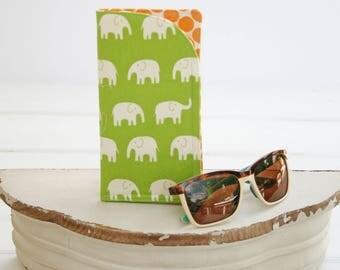 Eyeglass Case | Glasses Case | Green Elephant Monogram Cases for Oversized glasses | Fabric Eyeglass Holder |Funky Eyeglasses Case in Fabric