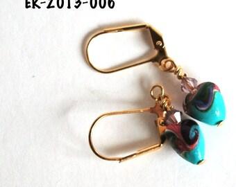 Earrings Handmade, Gold Earrings, Dangle Earrings, Polymer Earrings, Ready to Ship, Drop Earrings, Heart Earrings, Statement Earrings