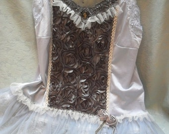 Holiday Sale 30% Off TUNIC Top Cami Whimsical Romantic Fairyland Boho - Tunic - Gray and Ivory