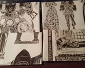 Upcycled/Recycled envelopes, set of 4- Brass Rubbings - black and white