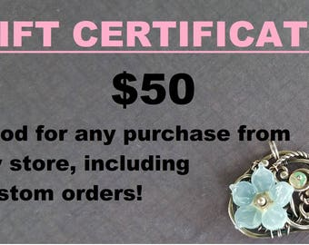 GIFT CERTIFICATE for jewelry shopping spree