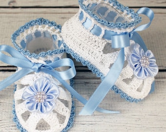 Crocheted White & Blue Baby Booties Sandals - 3-6 mos.