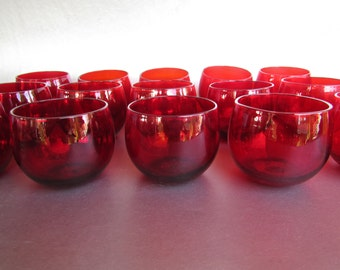 15 Scarlet Rolly Polly Vintage Glasses for Barware or Votive, Perfect Large Party or Event