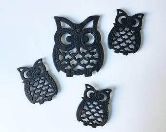 Owl Trivets Metal Trivets Vintage Trivets Rustic Trivets Kitchen Decor Set of 4