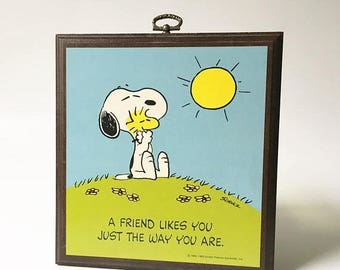 SALE Snoopy Plaque Friend gift Hallmark snoopy collectible Snoopy sign Peanuts hanging sign
