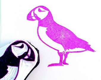 Puffin Rubber Stamp - Hand Carved