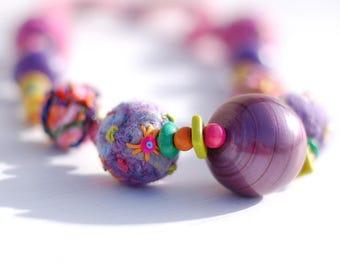 Spring Fever Necklace - Statement Necklace - OOAK - Boho Necklace - Funky Textile Necklace