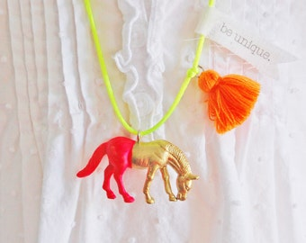Horse Necklace. Tassel Necklace. Girls Horse Necklace. Childrens Jewelry. Gifts for Horse Lovers. Boho Necklace. Horse Jewelry. Gold Horse.
