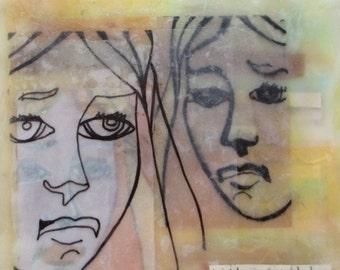Encaustic Painting, feminist painting, mixed media encaustic, female portrait art, drawing, gemini