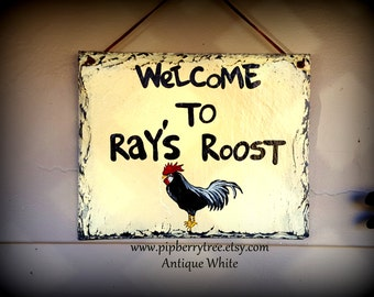 Rooster Welcome Hand Painted Decorative Slate Sign/Decorative Chicken Yard Sign/Decorative Chicken Coop Sign/Chicken Coop Sign/Rooster Sign