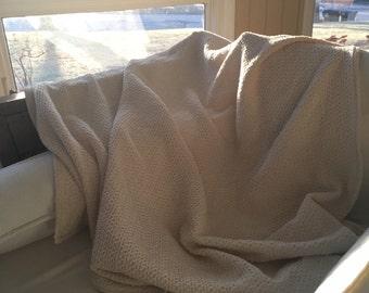Luxury Cotton Blanket. Organic Cream Cotton Throw Blanket. Finished Edge.