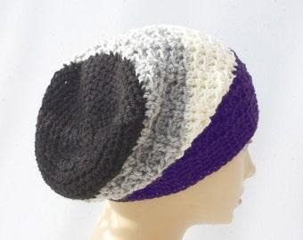 Pride Hat, Slouchy Beanie Hat, Asexual Flag Hat, Purple, White, Gray, Black,  Custom Chose Pride Colors