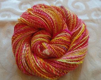 Raspberry Lemonade handspun yarn w/ merino,silk, sparkle and angora, 165 yards of sport weight