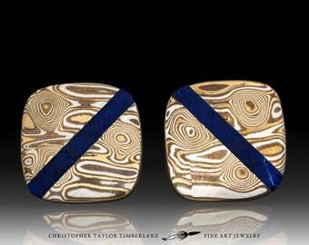 Mokume Gane Cufflinks with Lapis Inlay