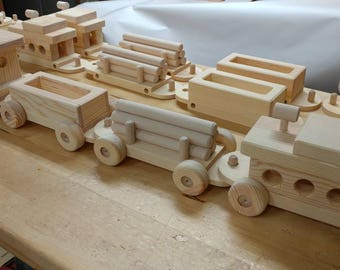 New 4 Car Train Set Large Wood  Handmade toy Pine Heirloom Quality all natural no finish