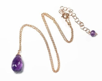 Amethyst pendant necklace, AAA purple Amethyst briolette, 14k Rose Gold Filled Layering Necklace, Gift for Her, February Birthstone