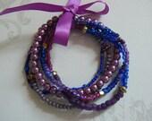 Multistrand Bracelet, Handmade Bracelet, Purple Bracelet, Ready to Ship, One Size Fits Most, Unique Handmade Jewelry, Mother's Day Gift