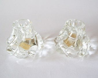 Imperial Glass Elysian Candle Holders, Swirl Crystal Candleholder Set of 2, Ohio USA, 1950s