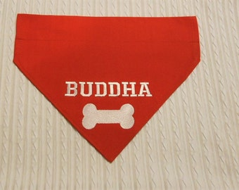 Personalized Dog Bandana with Bone in Over the Dog Collar style S to XL in tie style