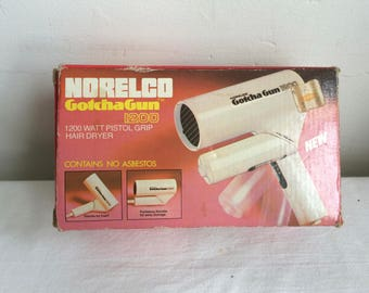 1970s Norelco Gotcha Gun Electric Hair Dryer 1200 in Original Box with Tag Works