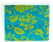 HOLIDAY SALE Vintage Tropical Print Cotton Fabric - Aloha Print in Bright Cyan / Teal and Chartreuse