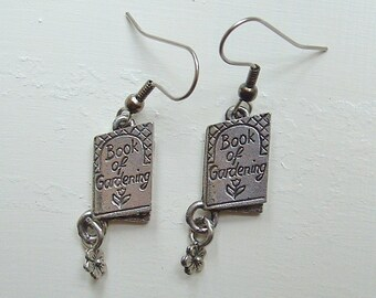 Gardening Book Charm Earrings silver pewter charms USA-made lead-free