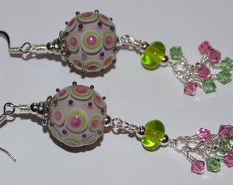 Gorgeous pair of pink and lime green Handmade Glass beaded earrings